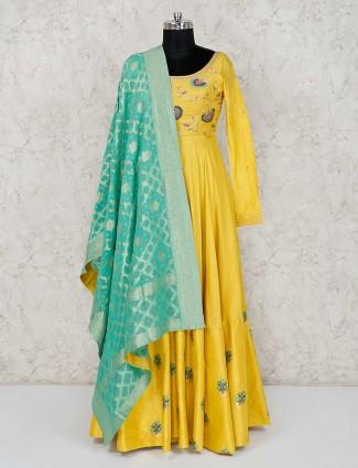 Cotton silk yellow designer anarkali suit