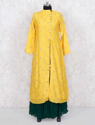Cotton silk yellow hued punjabi lehenga cum suit