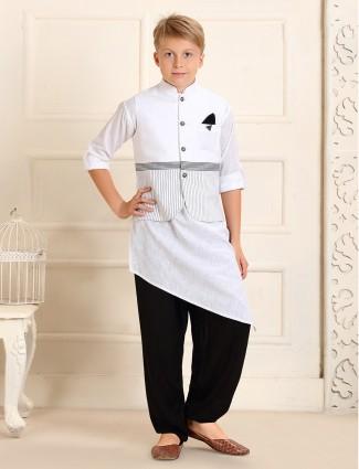 Cotton stripe white waistcoat set