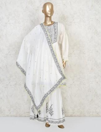 Cotton thread work off white punjabi sharara suit