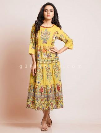 Cotton yellow kurti in traditional print