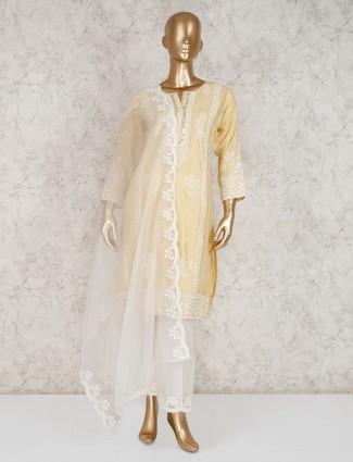 Cotton yellow punjabi palazzo suit