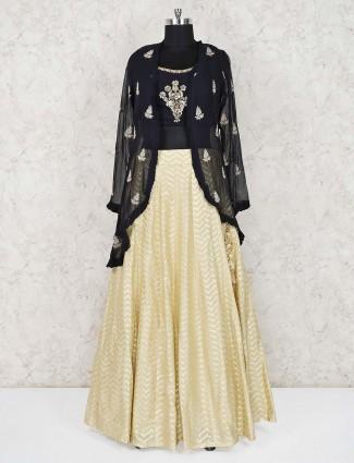 Cream and black jecket style lehenga choli