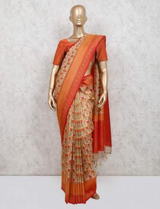 Cream banarasi silk saree for festive function