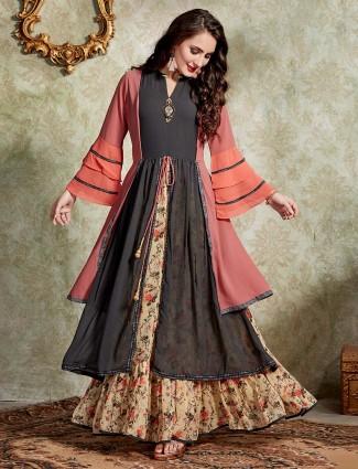 Cream black printed layer style kurti in cotton silk