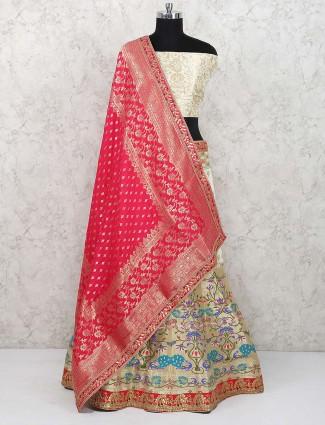 Cream color banarasi silk lovely semi stitched lehenga choli
