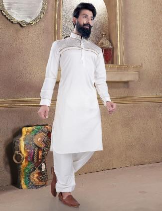 Cream color cotton silk pathani suit