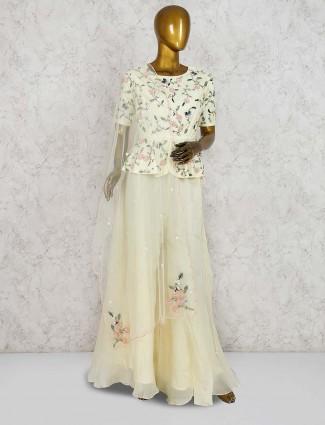 Cream color cotton silk peplum style palazzo suit