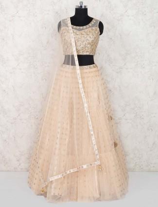 Cream color designer wedding wear lehenga choli