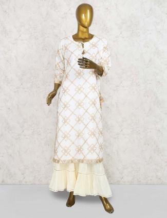 Cream color kurti set in cotton