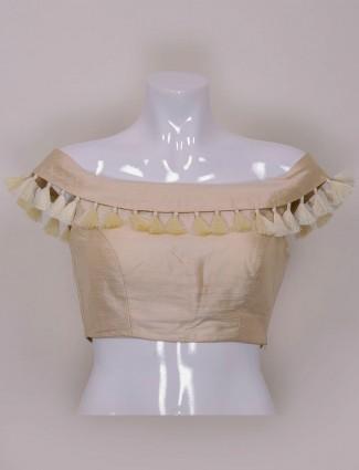 Cream color plain raw silk ready made blouse