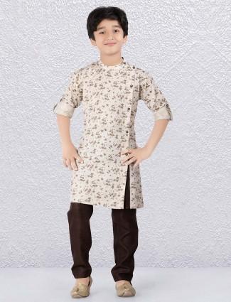 Cream color printed pattern kurta suit