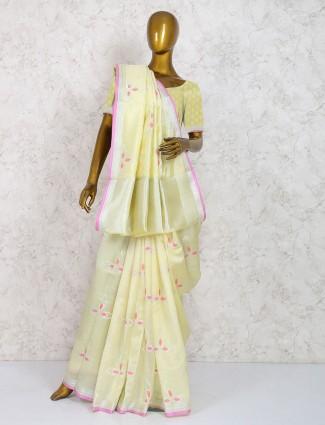 Cream color pure silk fabric saree
