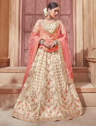 Cream color raw silk bridal semi stitched lehenga choli