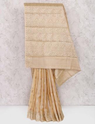 Cream color semi silk designer saree