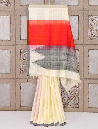 Cream color silk simple festive saree