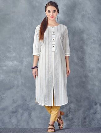 Cream color stripe pattern cotton kurti