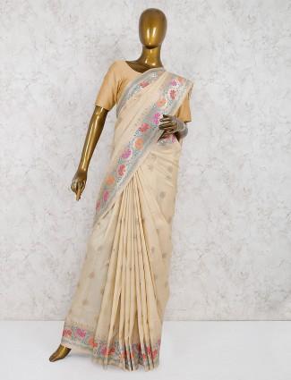 Cream color wedding semi silk saree