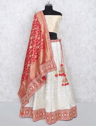 Cream colored banarasi silk semi stitched lehenga choli