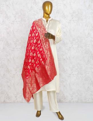 Cream colored cotton silk punjabi salwar suit