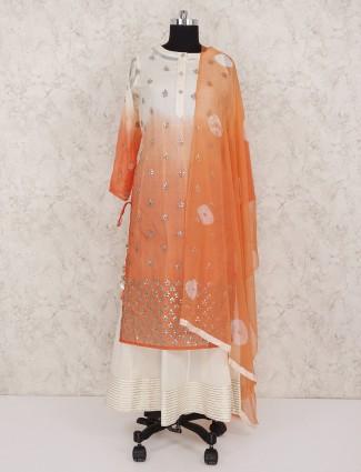 Cream cotton fabric double layer festive salwar suit