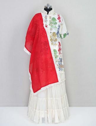 Cream cotton festive salwar suit