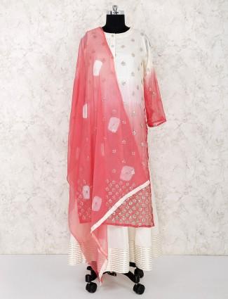 Cream cotton festive wear double layer salwar suit