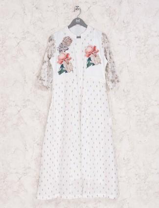 Cream cotton printed casual wear kurti