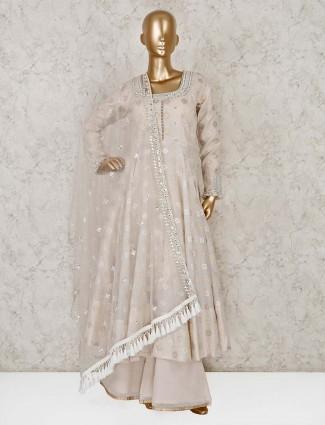 Cream cotton silk designer anarkali suit