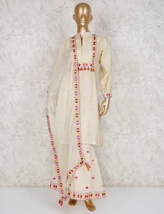 Cream cotton silk festive wear punjabi sharara suit