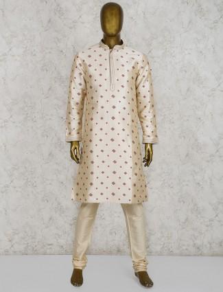 Cream cotton silk half buttoned kurta suit