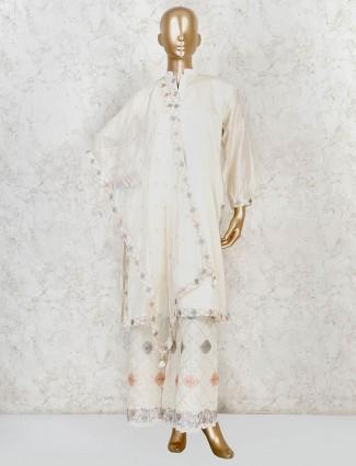 Cream cotton silk palazzo set for festival