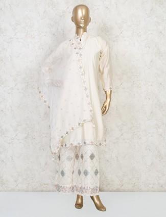 Cream cotton silk stand neck punjabi palazzo suit