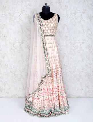 Cream designer cotton silk wedding anarkali suit