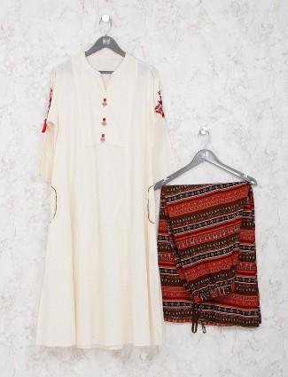 Cream hue cotton kurti set