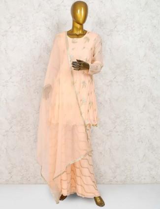 Cream hue marble chiffon punjabi palazzo suit