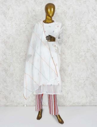 Cream hue pretty punjabi salwar suit in cotton