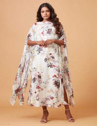 Cream hue printed designer kurti