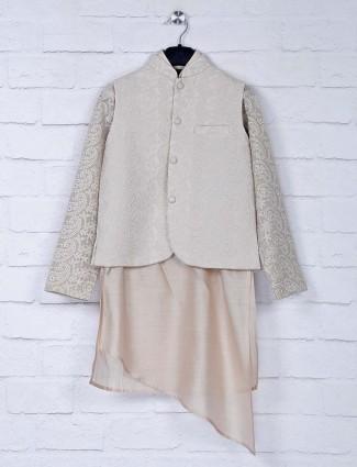 Cream hue silk fabric designer waistcoat set