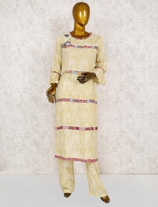 Cream hued cotton punjabi salwar suit