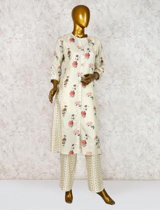 Cream palazzo set in cotton silk