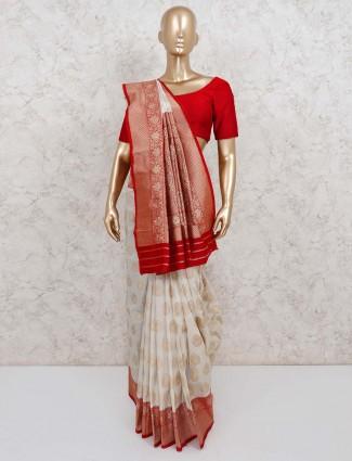 Cream pretty semi silk saree