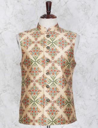 Cream printed jacquard waistcoat