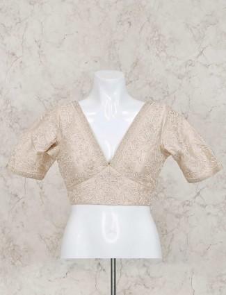 Cream raw silk ready made designer blouse