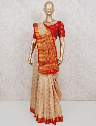 Cream semi cotton silk festive wear saree