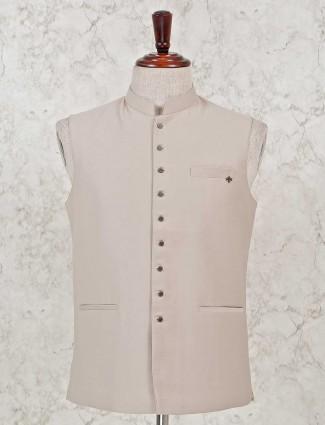 Cream solid stand collar waistcoat