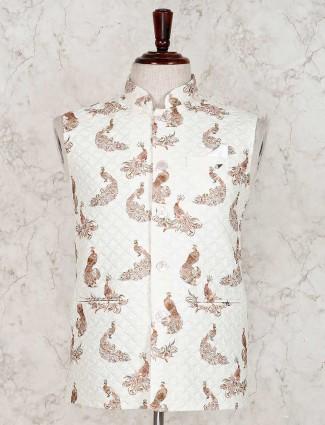 Cream terry rayon stand collar waistcoat