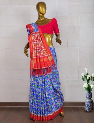 Dark blue colored patan patola saree for wedding