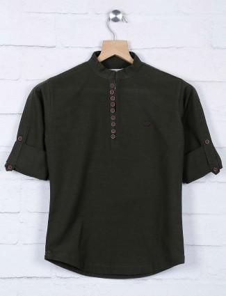 Dark green solid chinese neck shirt