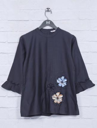 Dark grey casual function cotton top